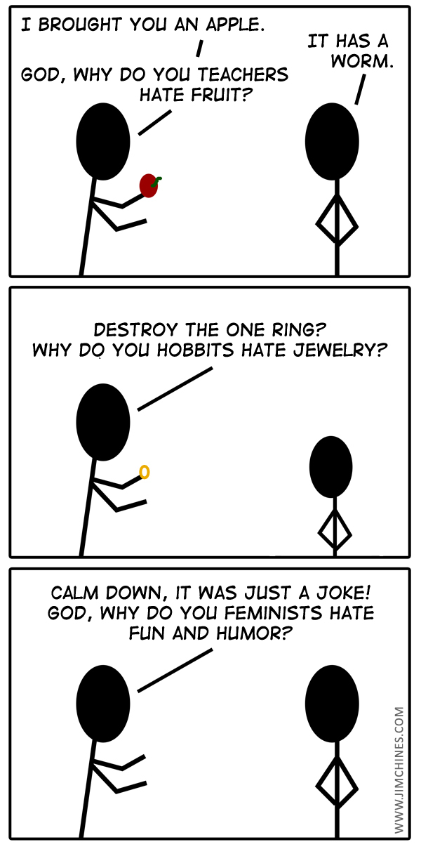 "Stick figure comic about ""humorless"" feminists."