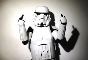 Stormtrooper: middle fingers