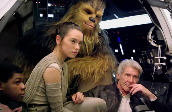 Finn, Rey, Chewie, and Han