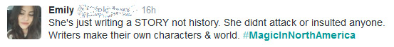 """She's just writing a STORY not history. She didnt attack or insulted anyone. Writers make their own characters & world."""