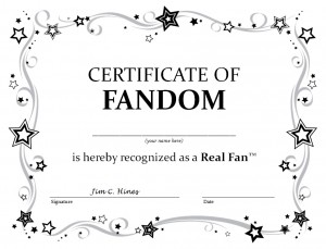 Certificate of Real Fandom