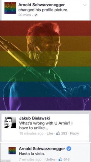 Arnold Schwarzenegger's Rainbow Facebook picture