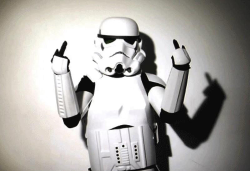 Stormtrooper: middle fingers