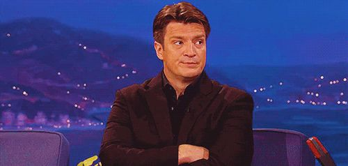 Nathan Fillion - Head Shake Gif