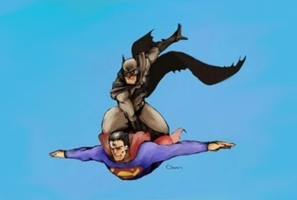 Batman Riding Superman